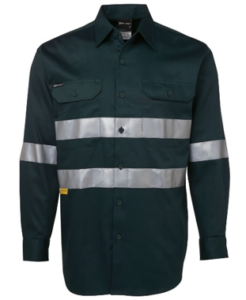 Dark green tradie workwear shirt with reflective tapes