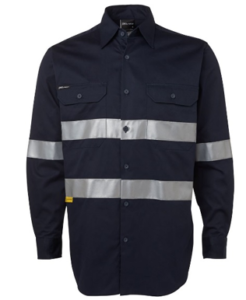 Navy work wear shirt with reflective tapes